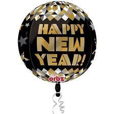 HAPPY NEW YEAR ORBZ NYE NEW YEARS EVE PARTY FOIL HELIUM BALLOON DECORATION
