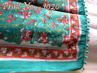 180 x 110 cm Indian Cover Pareo 100% Cotton Sarong Hand Block Print  Beach Wear