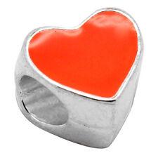 20 HOT Charm Perle Perline Cuore Smaltato Arancione Argento Foro Largo 10x10mm