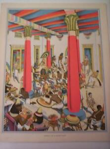 Vintage Colour Print Domestic Life in Ancient Egypt Lithograph 1950s 14