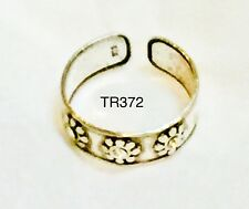 Silver 925 Thailand Beach Floral Emboss Usa Seller Toe Ring Adjustable Sterling