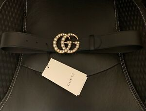 Gucci Black Leather Belt - Pearl Double G Buckle - SZ80