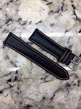 22mm Carbon Fiber Watch Band Wrist Strap Black Leather / Orange Stitch FREE SHIP