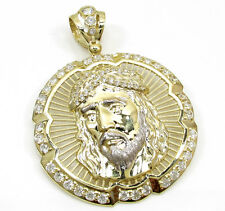 19 Grams Large Mens 10k Yellow Real Gold Jesus Halo Face Charm Pendant