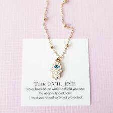 Gold enamel hamsa charm greek turkish evil eye protection ball chain necklace