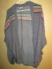 Victoria's Secret Relaxed Slouch Open Front Shrug Pullover Lounge Robe XS PRINT