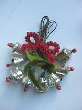 "Antique German Christmas Silver Glass Ornament ""Bells"""