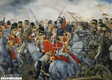 Military art post card Battle of Waterloo Wellington Scots Grey French Lancers