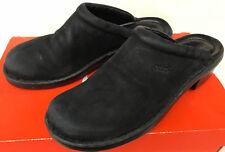 Ecco Black Leather Wedge Heel Slide Mule Comfort Clogs Shoes Women's 8.5 EUR 39