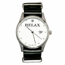 Cheapo BRAND [RELAX Weed Leaf Black Leather Strap] Orologio da polso Orologio Watch TATUAGGIO S