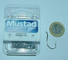 MUSTAD 25 AMI 92553 S SIZE 1/0 STAINLESS STEEL PESCA 92553S OCCHIELLO