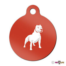 Pit Bull Engraved Keychain Round Tag w/tab alert v2 Many Colors
