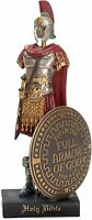 Full Armor Of God Roman Soldier 9 x 5 Inch Red Resinstone Tabletop Figurine