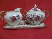 Vtg ROYAL SEALY CHINA CREAMER, SUGAR, TRAY MOSS ROSE (BACK STAMP Japan) X-NICE!