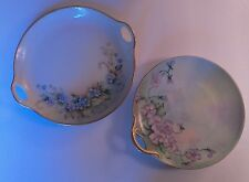 Two Antique Limoges Hand Painted Small Serving Dish or Trinket Tray, Signed!
