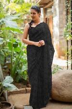NW Indian Net Saree Sari Bollywood Wedding Pakistani Designer Embroidery 7 Color