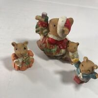Set of 3 Ceramic Santa Mouse Mice Figurines Christmas Holiday Home Decorations