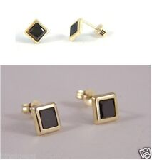 Women 9ct Gold 6mm Black Sapphire Square Studs Earrings Anniversary GIFT BOX NEW