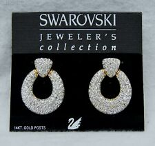 Swarovski White Crystal Hoop Stud Earrings Swan Signed Original Bag B2563
