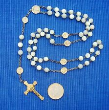 B16 Superbe Chapelet Rosary Argent Massif Nacre Collection Religiosa grand forma
