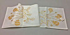 Christmas Holiday Ornaments Ivory and Gold Embroidered Table Runner 16x70 inches