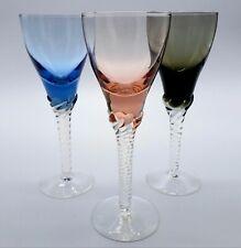 X3 Vintage Hand Blown / Made Twisted Stem Harlequin Port Sherry Liqueur Glasses