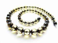 Luxury Baltic Amber Necklace, Green Color Faceted Round Beads