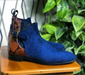 Handmade Blue Suede Leather Ankle Boots, Classic Ankle Strap High Boots