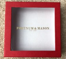 FORTNUM AND MASON SQUARE TRINKET STORAGE BOX Red and White with gold writing