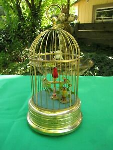 Vintage German Automation Singing Bird Cage With 2 Birds (Very Rare)