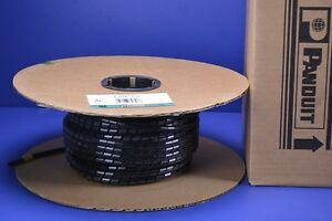 """100' Panduit 3/8"""" Black Spiral Wrap Cable Harness Polyethylene UV Rated T38F-C0"""