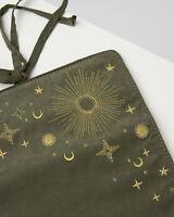 Oliver Bonas Women Embroidered Stars Khaki Green Jewellery Roll