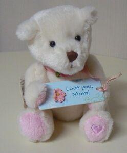 Hallmark LOVE YOU MOM White Plush Bear with Sign Pink Feet Heart NEW #1MAE4017