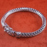 "New Bali Tulang Naga Foxtail Franco Wheat 925 Sterling Silver Bracelet 7.75"" 40g"