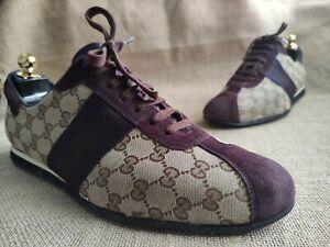 GUCCI Guccissima GG Sneakers Purple Suede & Brown Canvas US 12 EU 45 E   117711