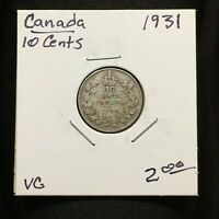 1931 CANADA 10 CENTS COIN KING GEORGE V SILVER VG