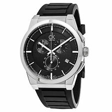 Calvin Klein Men's Dart Black Dial Rubber Strap Swiss Quartz Date Watch K2S371D1