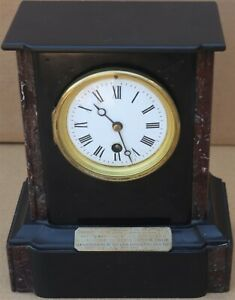 GREAT LOOKING SMALL OLD SLATE & MARBLE MANTEL CLOCK WITH INSCRIPTION PLAQUE 1892