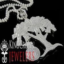 10K White Gold Sterling Silver Lab Diamond Money Tree Pendant Money Bag + Chain