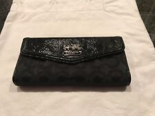 COACH PATENT LEATHER SIGNATURE BLACK WALLET - GENTLY USED CONDITION