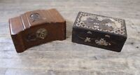 Antique Oriental Hardwood Boxes To Include Carved & Mother Of Pearl Example.