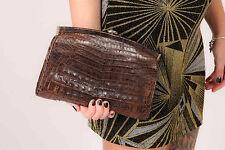 RARE vintage marron peau de crocodile en cuir embrayage sac a bandouliere 40 s 50 s exotique