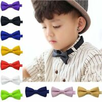 Kids Formal Wear Bow Tie Polyester Solid Pattern For Children Boy Suit Accessory