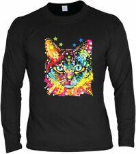 Neon Langarm-Shirt - Blaue Augen - Motivshirt Geschenk Aufdruck Katze Motiv