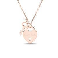 Halskette Herz Anhänger Schloss Schlüssel Rose-Gold GRAVUR Liebes Love Geschenk