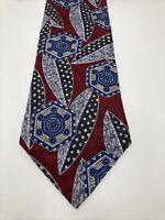"""VTG Oscar De La Renta Silk Couture Collection Red Blue Gray Mens Neck Tie 57""""x4"""""""