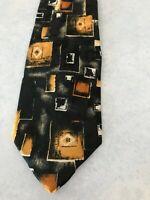 Men's Tie Necktie Ketch USA Black Orange Gold Abstract Pattern Polyester New