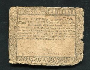 MD-80 DECEMBER 7, 1775 $1/6 ONE SIXTH DOLLAR MARYLAND COLONIAL CURRENCY NOTE