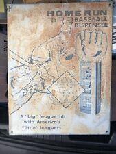 """Pez Candy Dispenser Advertising 16"""" Homerun Baseball Pez Dispenser Tin Sign"""