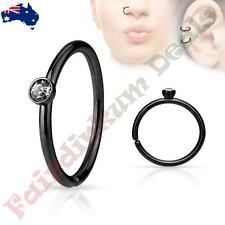 316 L Surgical Steel Black Ion Plated Nose Ring Hoop with Tiny Side Set CZ